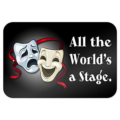 """All the World/'s a Stage Comedy Tragedy Drama Masks Acting 9/"""" x 6/"""" Metal Sign"""