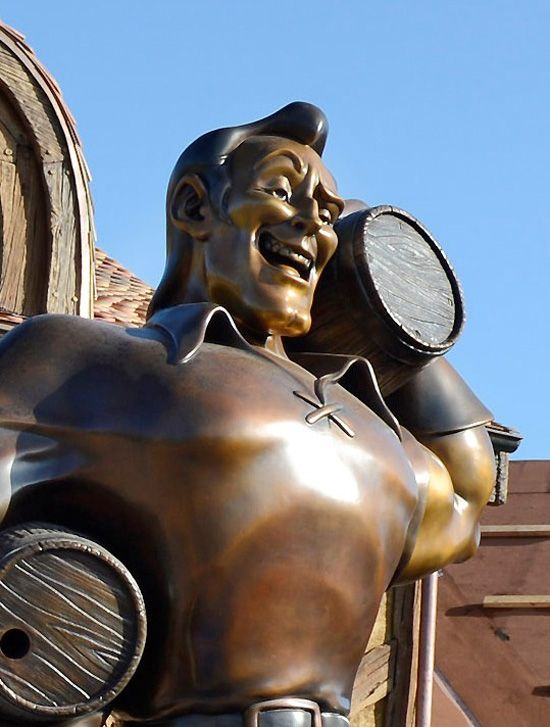 A huge statue of Gaston has arrived in Belle's Village in the Fantasyland Expansion in Disney World's Magic Kingdom