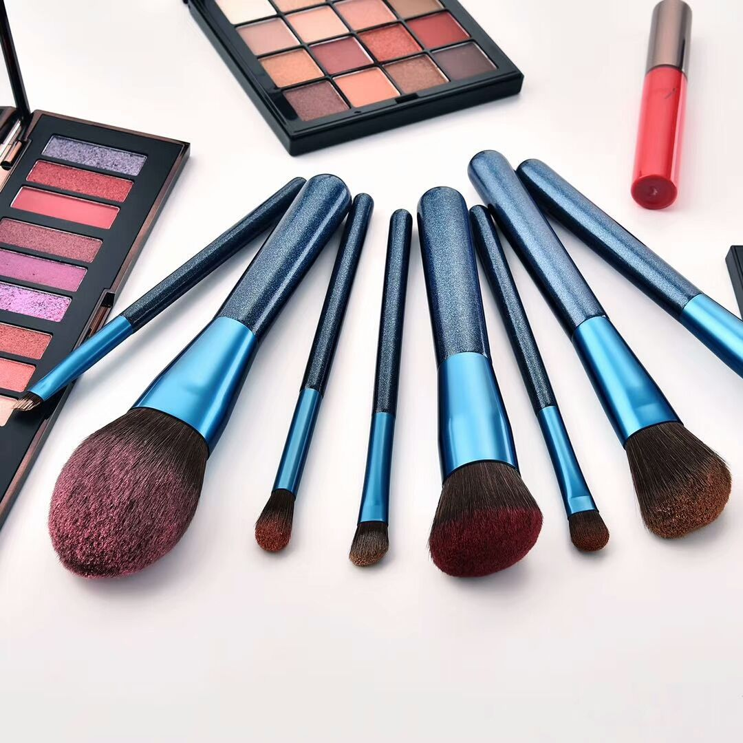 Sky blue makeup brushes set available wholesale inquiry
