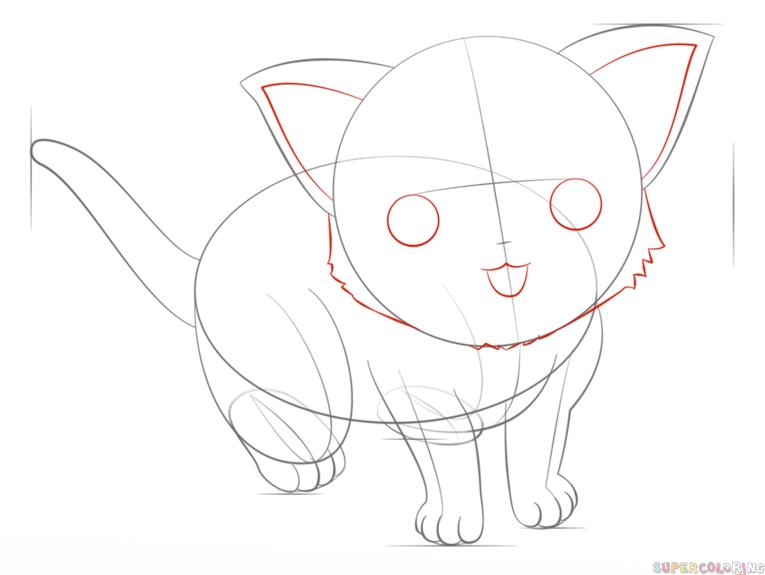 How To Draw An Anime Cat Step By Step Drawing Tutorials Drawing Tutorial Anime Drawings Drawings