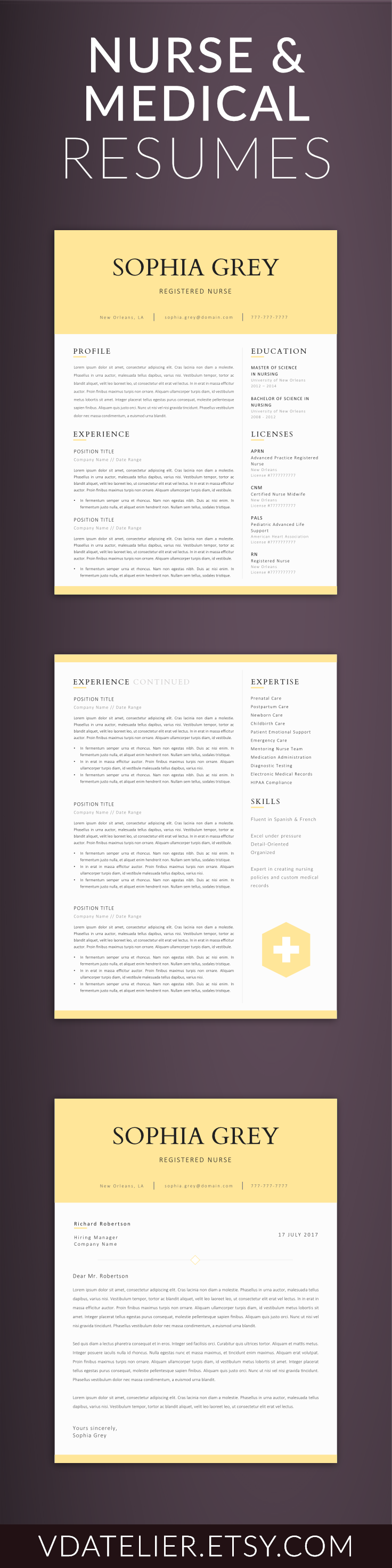 Nursing Resume Template 5 Pages | Nurse CV Template - Registered ...
