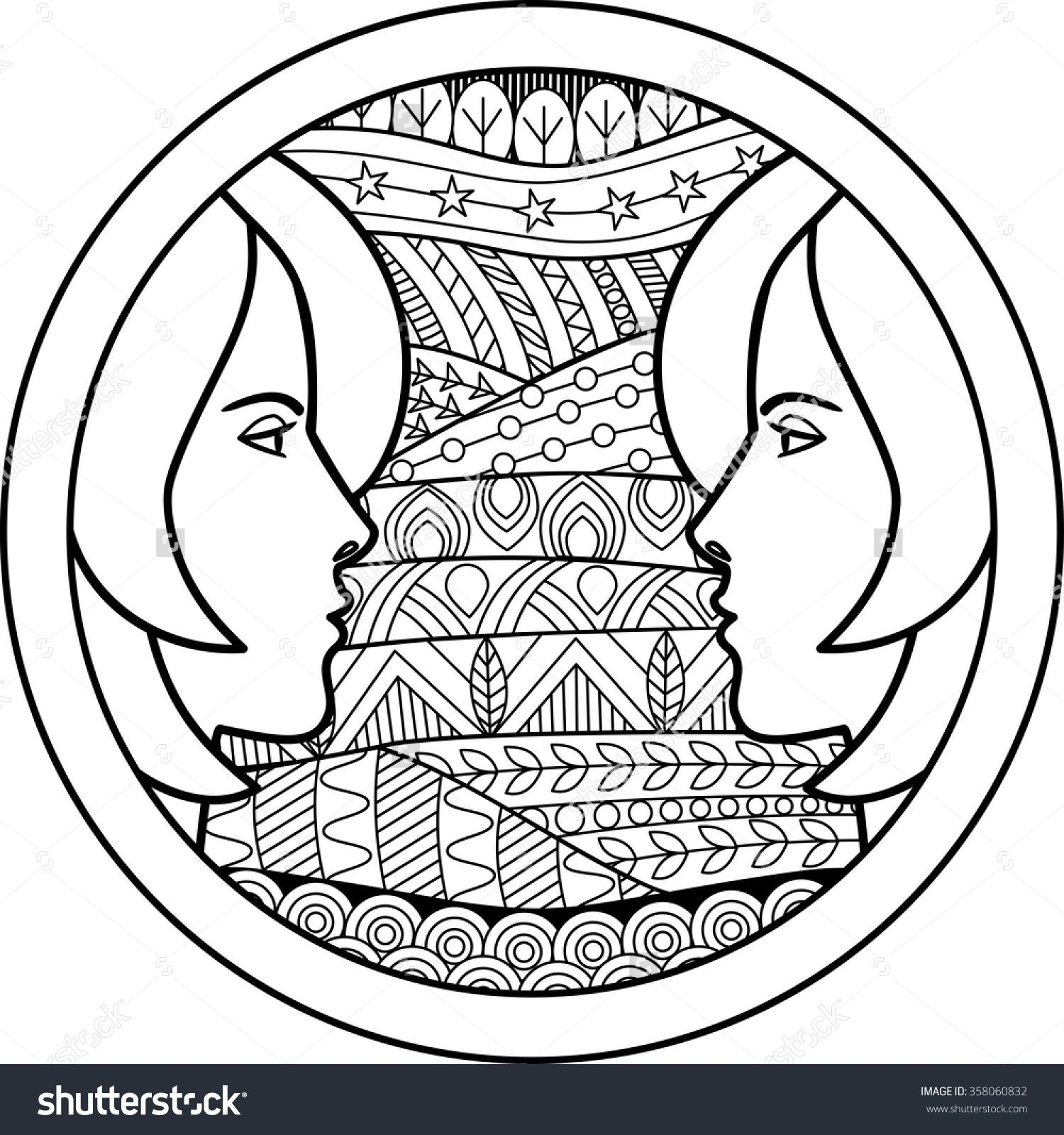 Zodiac sign Gemini zentangle | Zodiac Coloring Pages for Adults ...