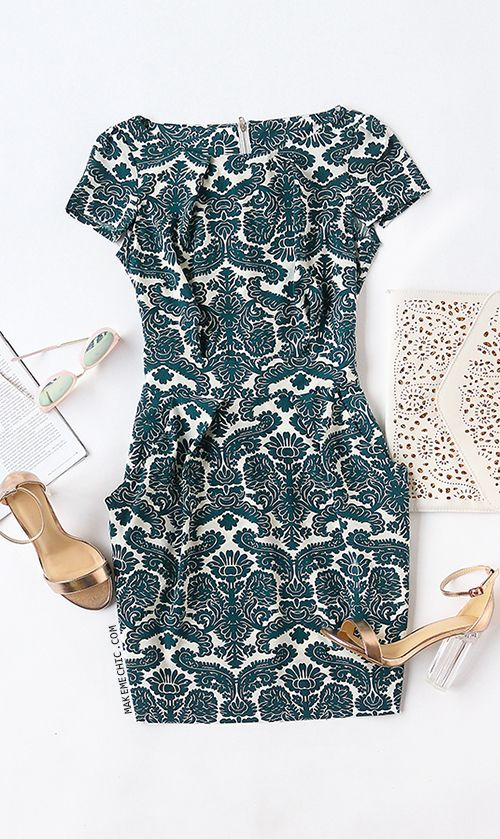 Green Short Sleeve Rockabilly Peasant Floral Bow Camo Slim Dress