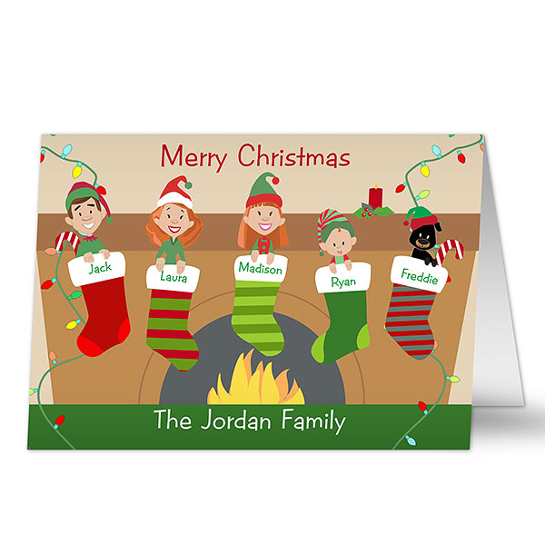 Personalized Christmas Cards -2020 Stocking Family Characters Holiday Card | Christmas stockings