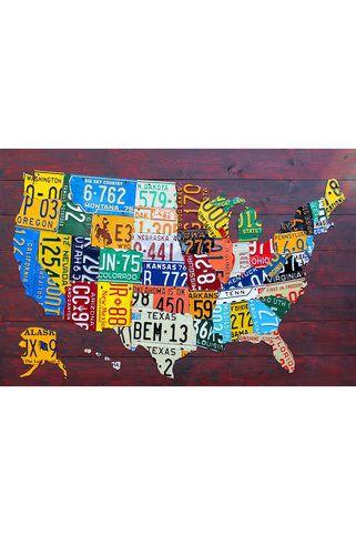 Canvas Print: License Plate Map USA by David Bowman | Art ...