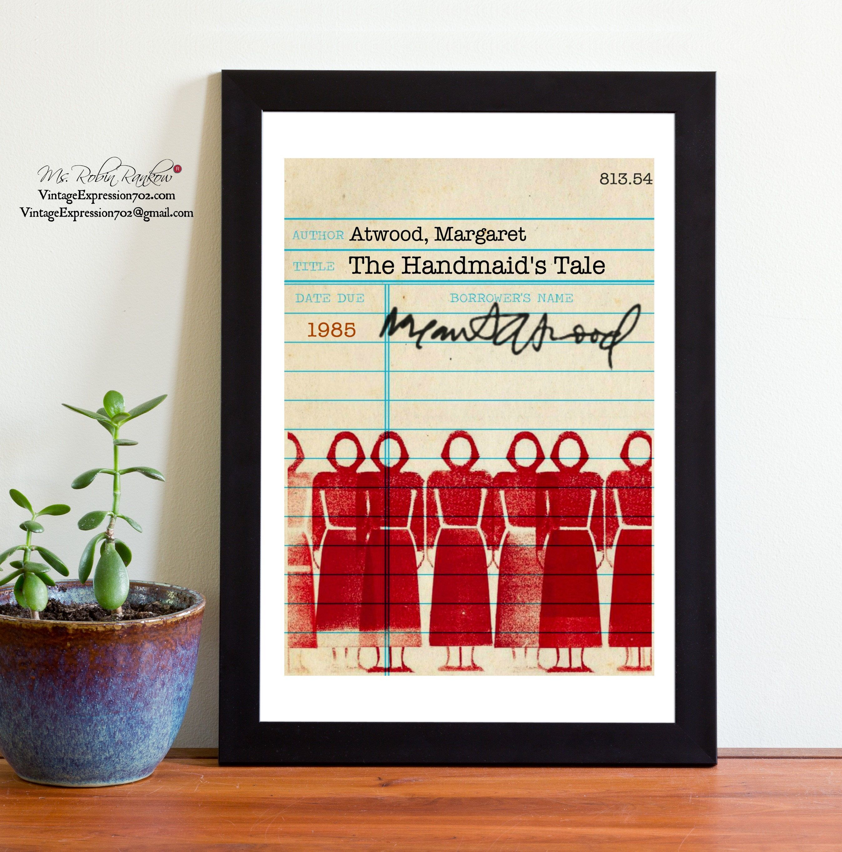 Margaret Atwood, The Handmaid\'s Tale, Vintage Library Card Art, Book ...