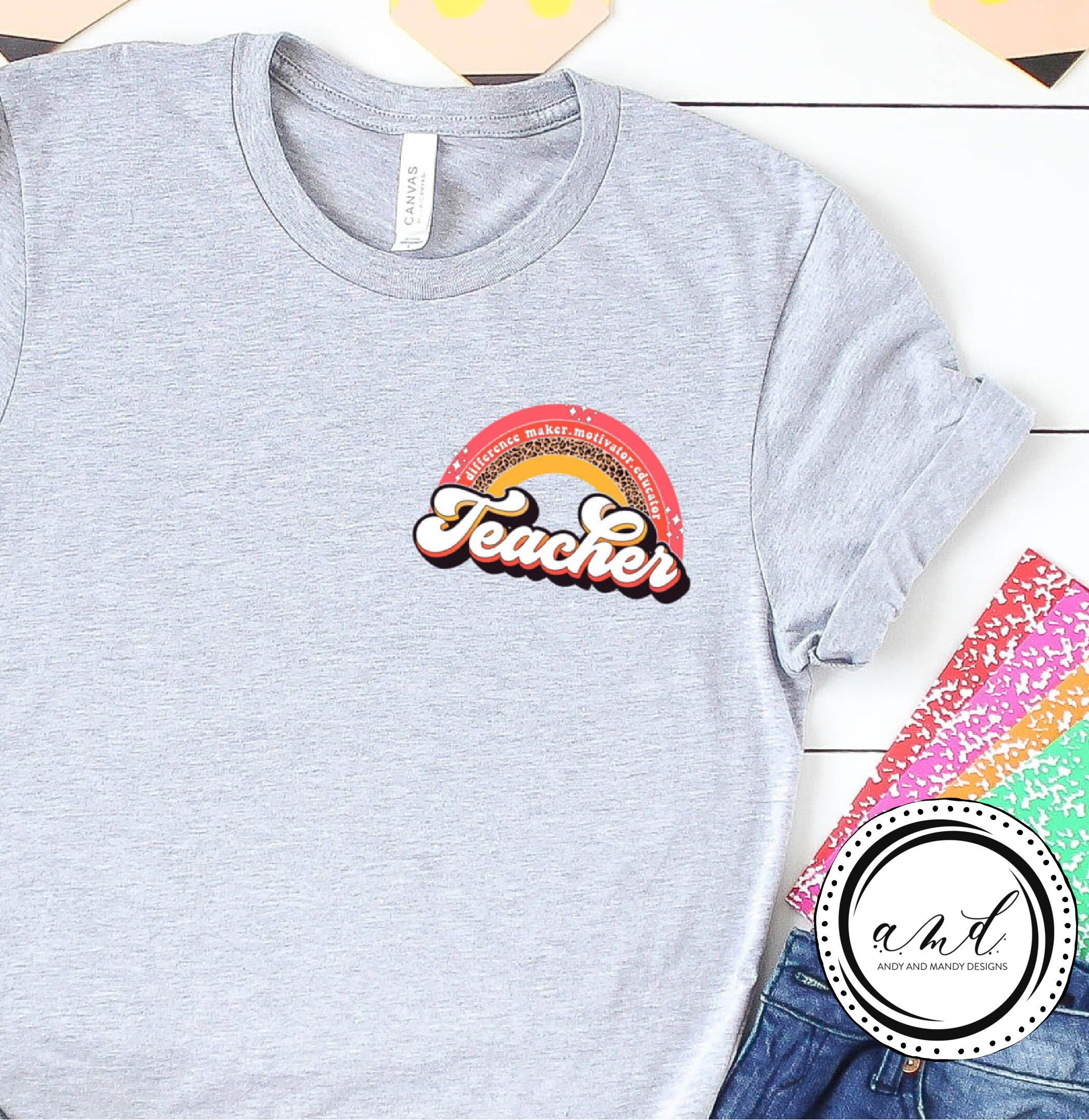 """""""Rainbow Teacher Shirt, Inspirational Teacher Shirts, Teach Love, Back To School, First Grade Teacher Shirts, Teacher Appreciation Shirt Super soft and comfy unisex t shirts. Shirt with FULL color plastisol ink screen print transfer on left \""""pocket\"""" area. Shirts DO NOT HAVE POCKETS. Part of our best selling themed shirts for you. Super soft and comfy fun relaxed look. Perfect shirt to add to your daily wardrobe. Grab those passerby glances as you run your errands. Tshirt fits like a beloved fa"""