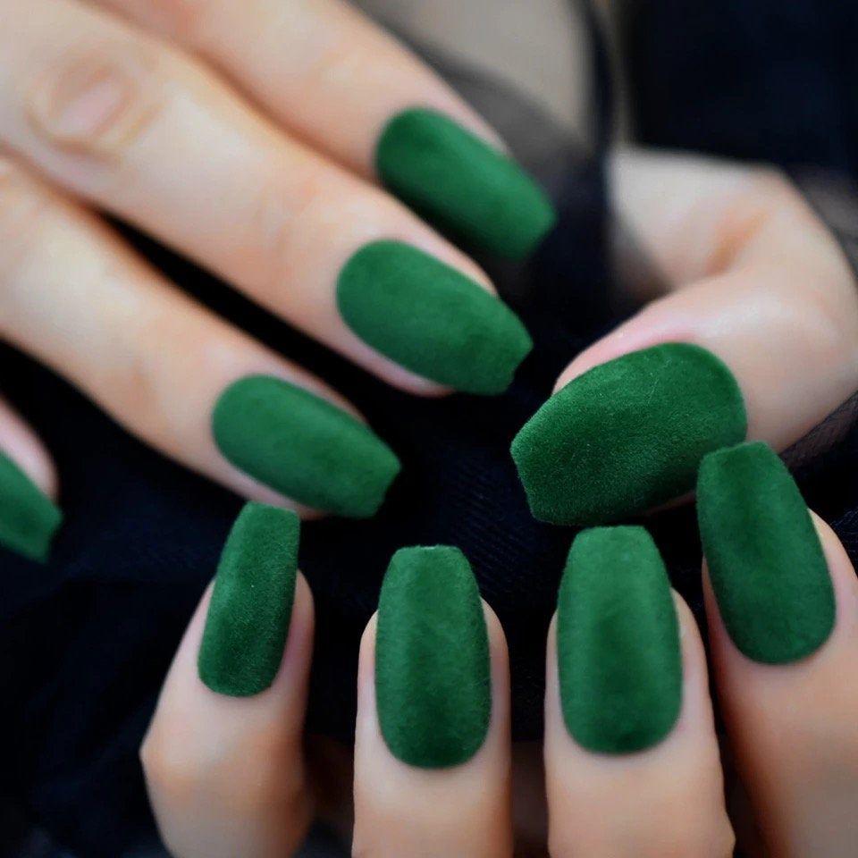 Green Velvet False Nails Medium Size Ballerina Acrylic Artificial Nail Art Tips Designed Press On Manicure With Artificial Nails Nail Art Salon Nail Art Hacks
