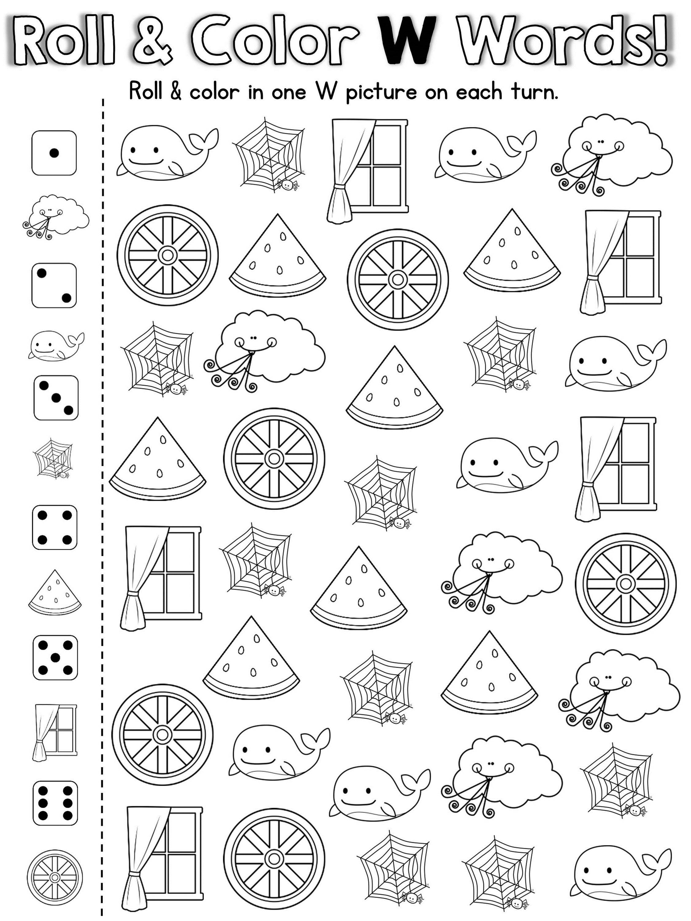 Coloring worksheets phonics - 20 Fun Ready To Print Games To Practice The Letter W Awesome For Rti