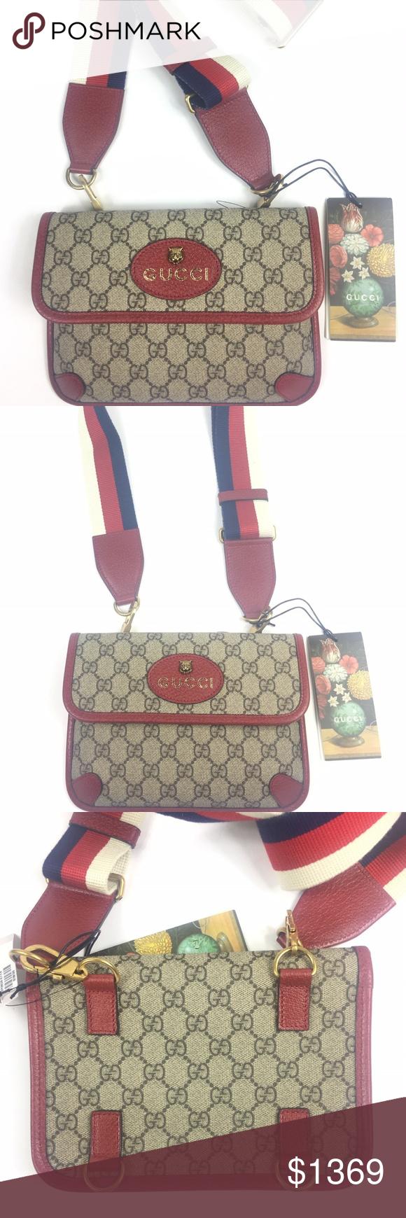 068ee90df1e Gucci  489617 GG Supreme Totem Cat Messenger Bag   Beige Ebony GG Supreme  Coated