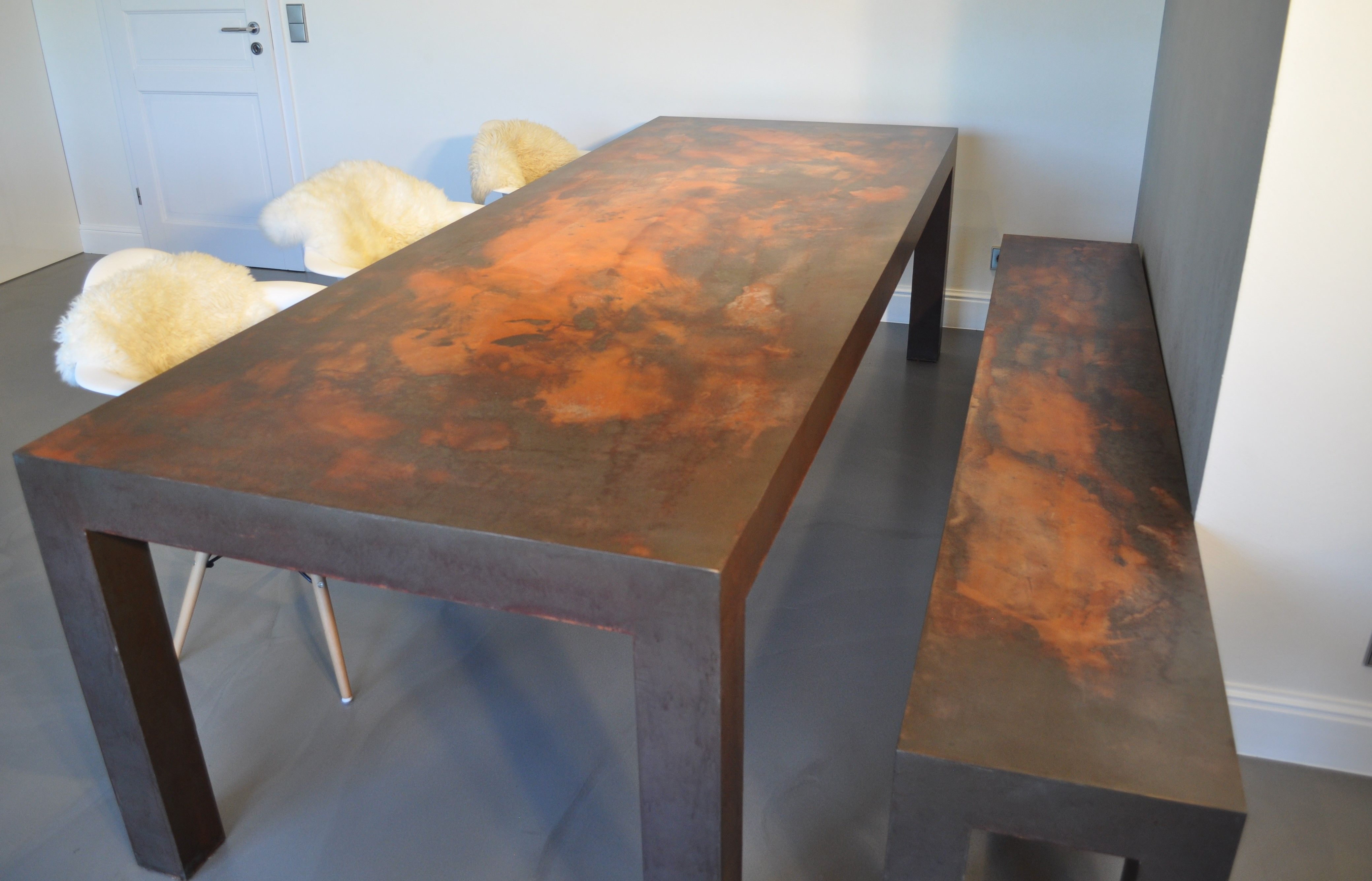Esstisch • Sitzbank • Rostoptik • Designmöbel