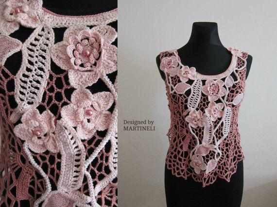 Pink Irish Crochet Top, Freeform Crochet, Lace Crochet Top, Lace ...