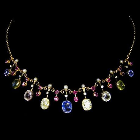 A late victorian vari coloured sapphire fringe necklace for Bentley and skinner jewelry
