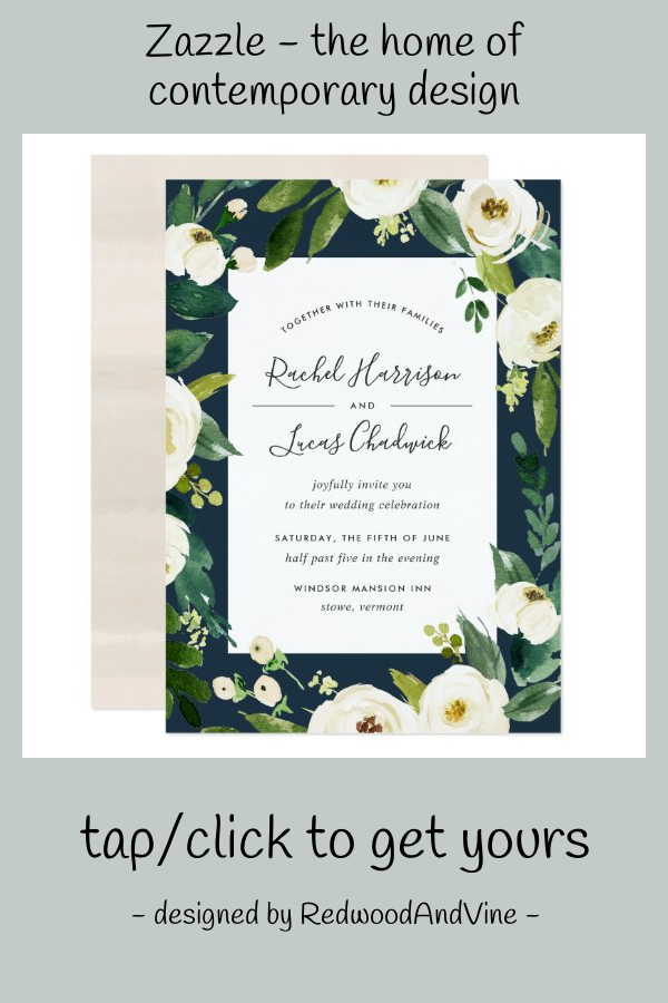 Alabaster Floral Frame Wedding Invitation Zazzle Com Wedding