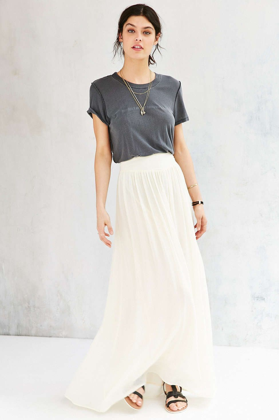 Fashion style Maxi Chiffon skirt pinterest pictures for woman