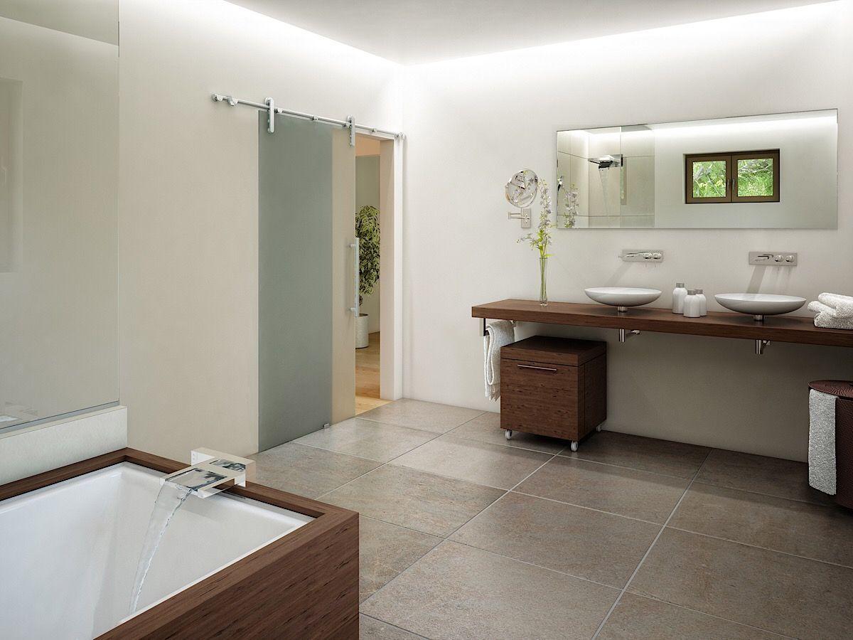 Modernes Badezimmer Mit Holz Fur Doppelwaschtisch Badewanne Inneneinrichtung Haus Ideen Einfamilienhaus Bien Zenker Fert Fertighauser Kubus Haus Haus Ideen