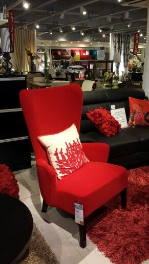 Nice red accent chair from Our Home SM North EDSA living room