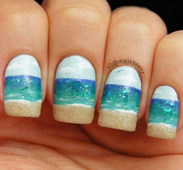 28 Colorful Nail Art Designs That Scream Summer Beach Nail Designs Beach Nails Beach Nail Art