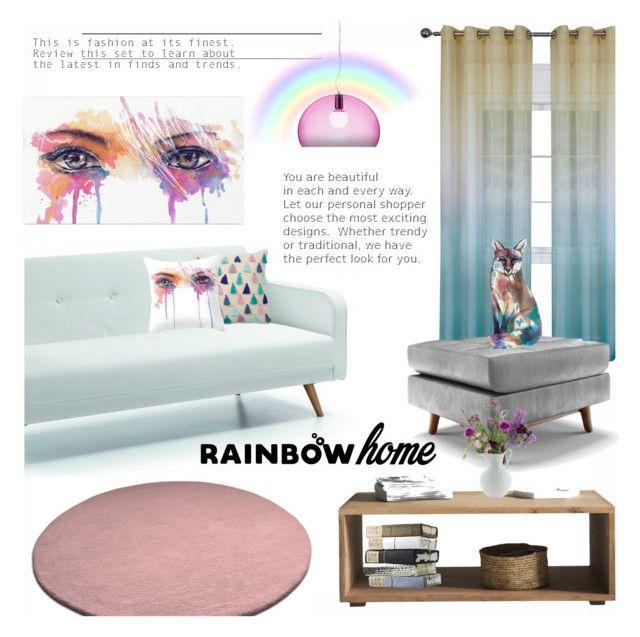 """Rainbow Home"" by majadi ❤ liked on Polyvore featuring interior, interiors, interior design, home, home decor, interior decorating, Kartell, Joybird, Imagination Illustrated and rainbowhome"