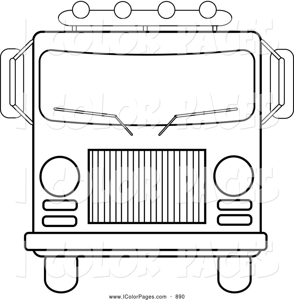 vector coloring page of a front rescue vehicles coloring pages