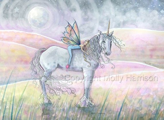 Unicorn and Fairy Fantasy Fine Art Print by by MollyHarrisonArt