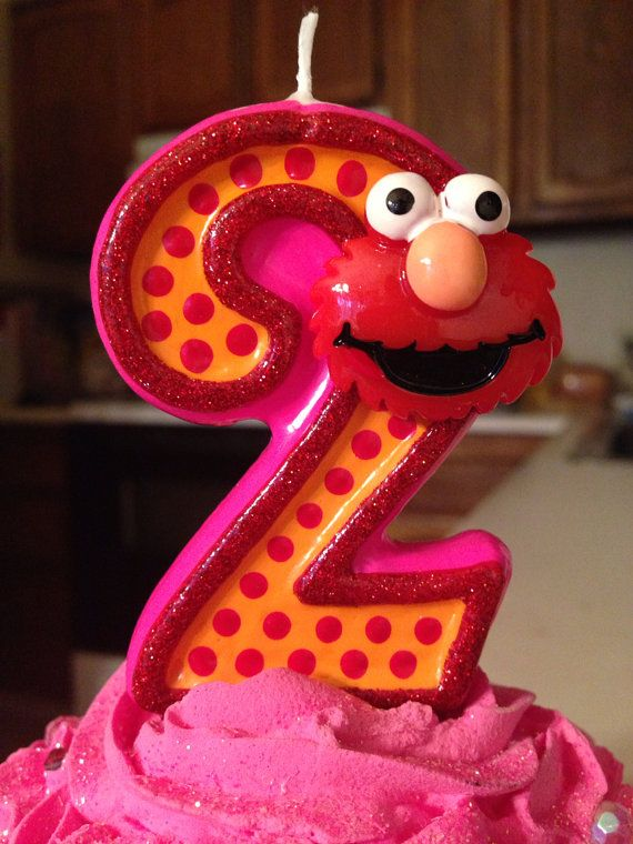 3 Inch Tall Elmo Birthday Candle Any Number Or By SweetPeaCandles Cake Girl