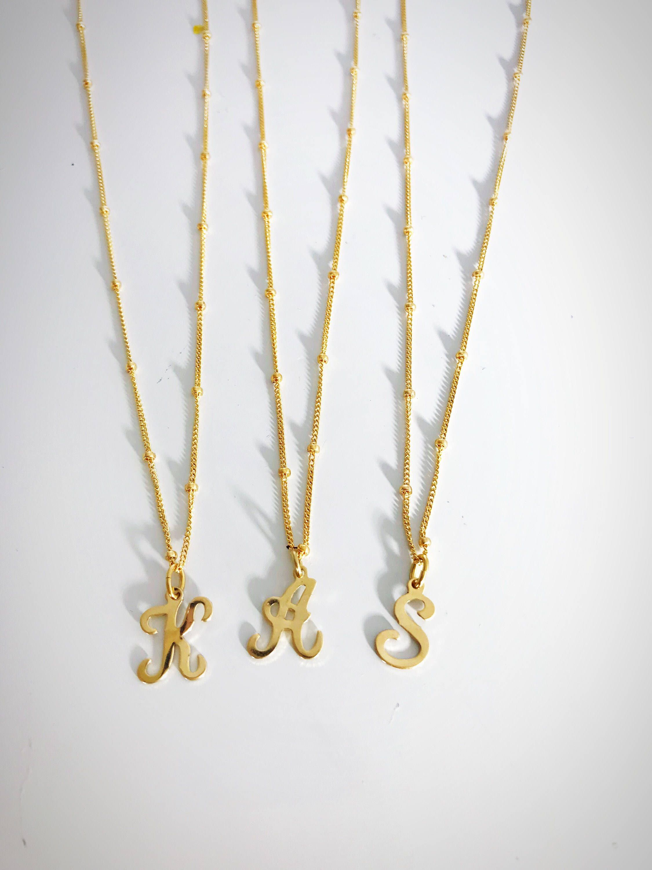 initials chain c initial pendant gold pjimage chains hammered trace yellow