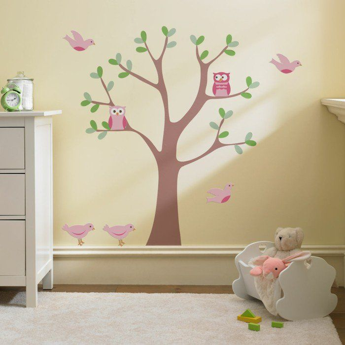 Kinderzimmer baby wände eule  kinderzimmer deko ideen babyzimmer dekorieren cremefarbige wände ...