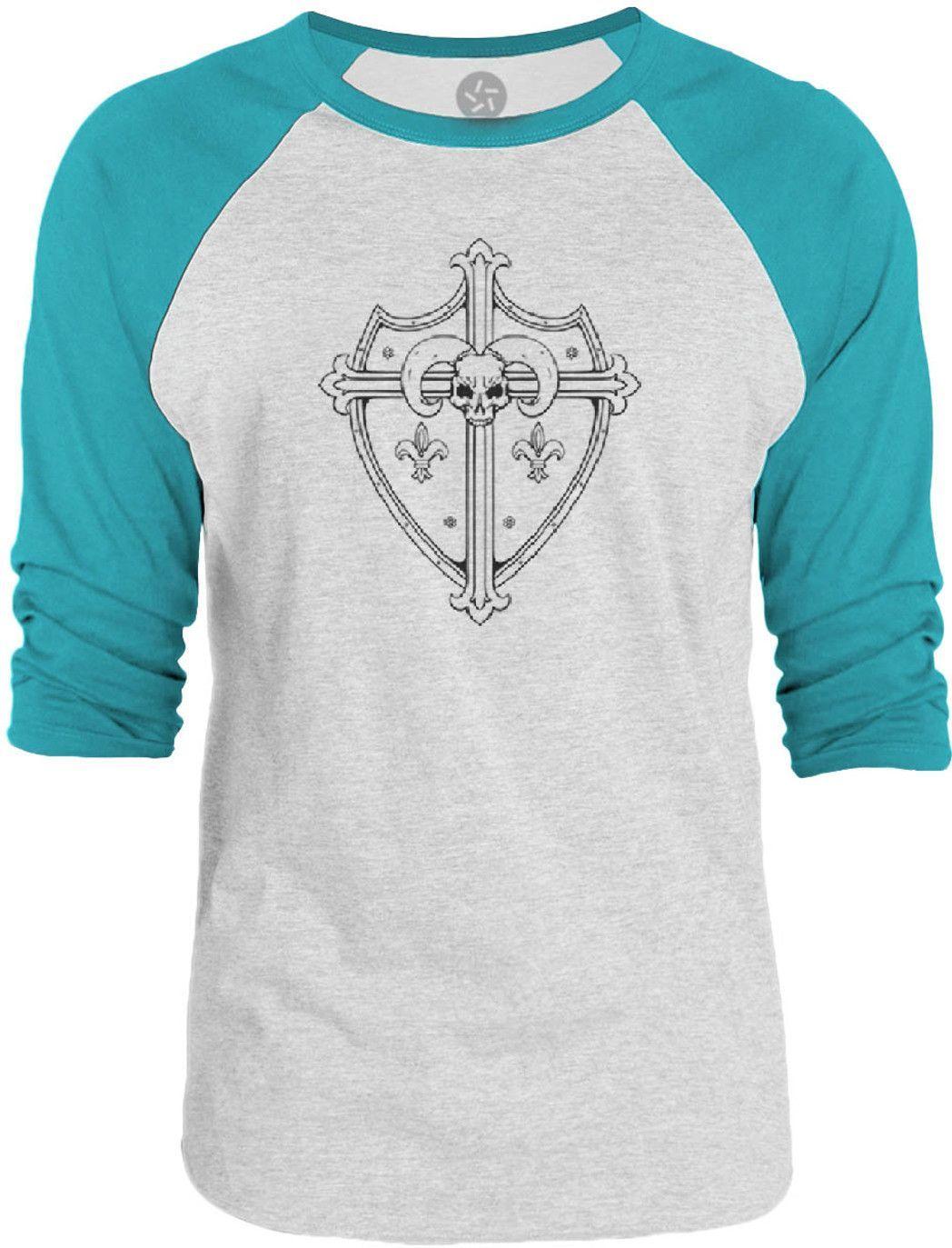 Big Texas Steel Ram Shield (Black) 3/4-Sleeve Raglan Baseball T-Shirt