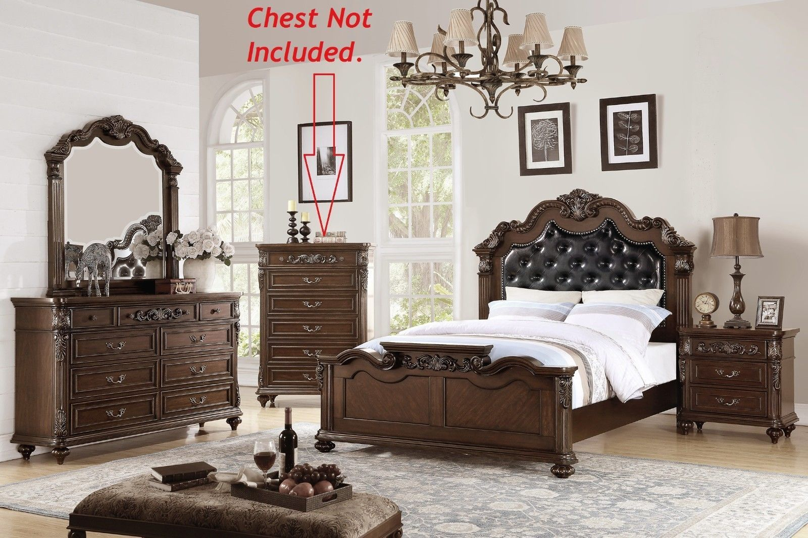 Dark Brown Queen King Sizes Bed 4pc