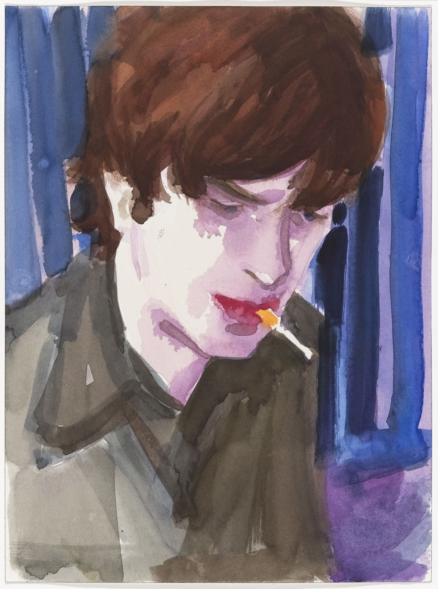 Elizabeth Peyton – Matthew Smoking (1997) watercolour on paper, 30x22cm