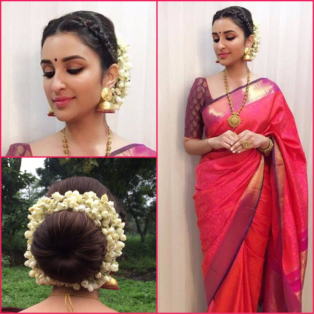 What A Beautiful Large Low Bun With Real Flower Gajra Care However Should Be Taken Before Adopting Su Indian Hairstyles Saree Hairstyles Traditional Hairstyle