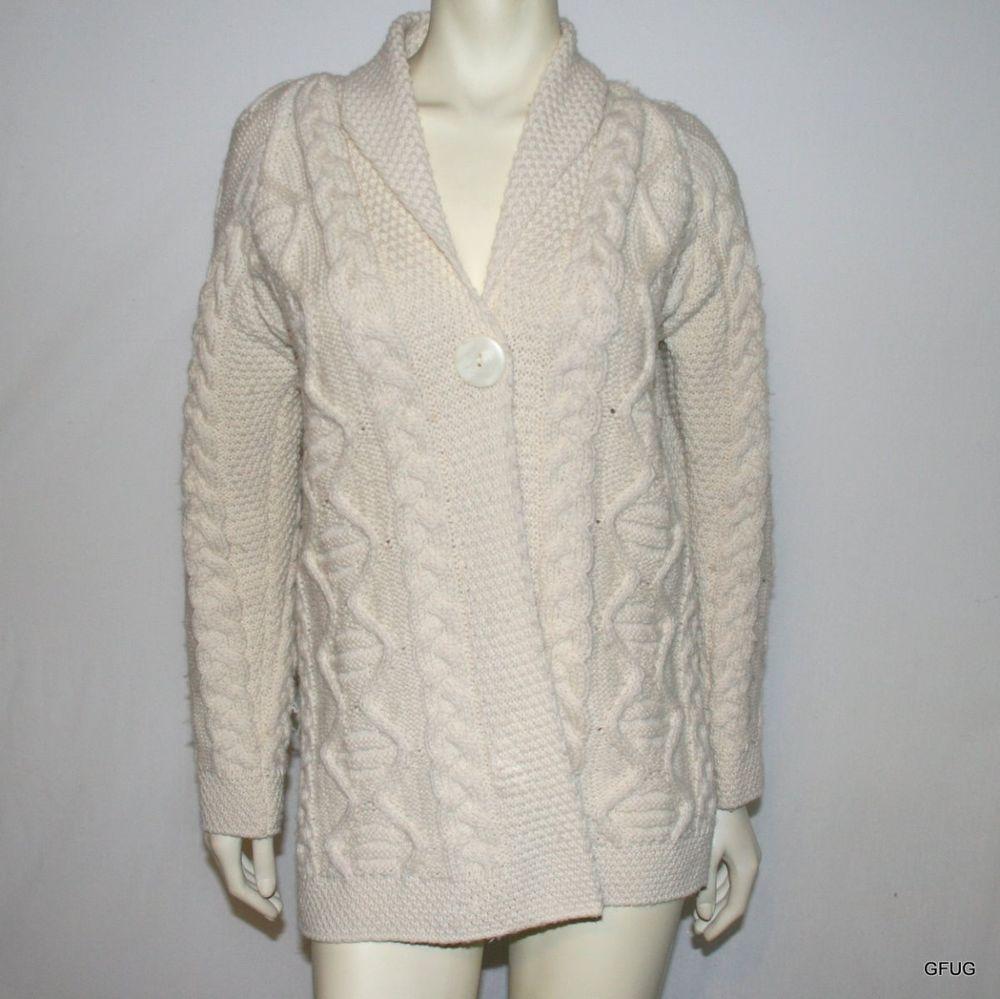 INIS CRAFT IRELAND Sz S Ivory Aran Merino Wool Cardigan Sweater ...