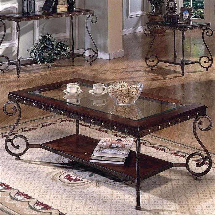 rectangular coffee table with metal studs nebraska furniture mart rh pinterest com
