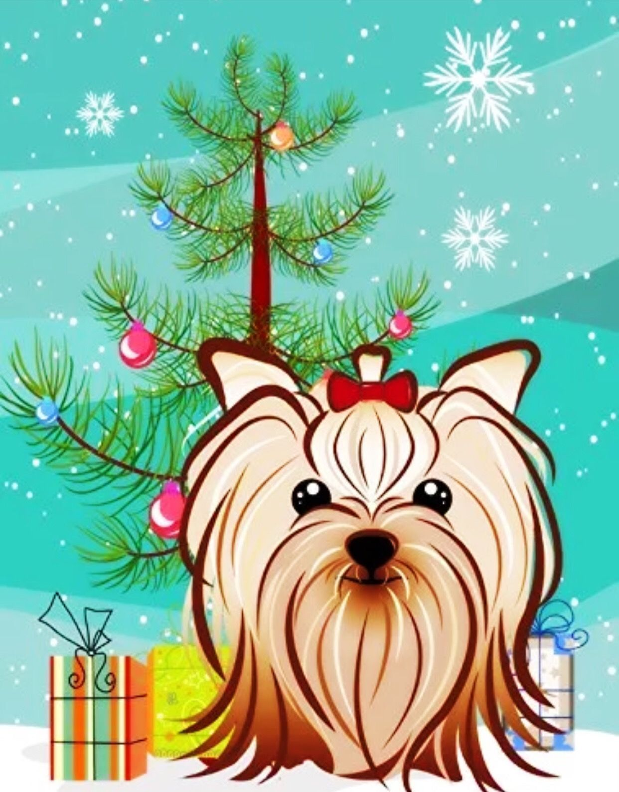 Merry Christmas Yorkshireterrier Yorkie Yorkshire Terrier Yorkie Yorkshire Terrier
