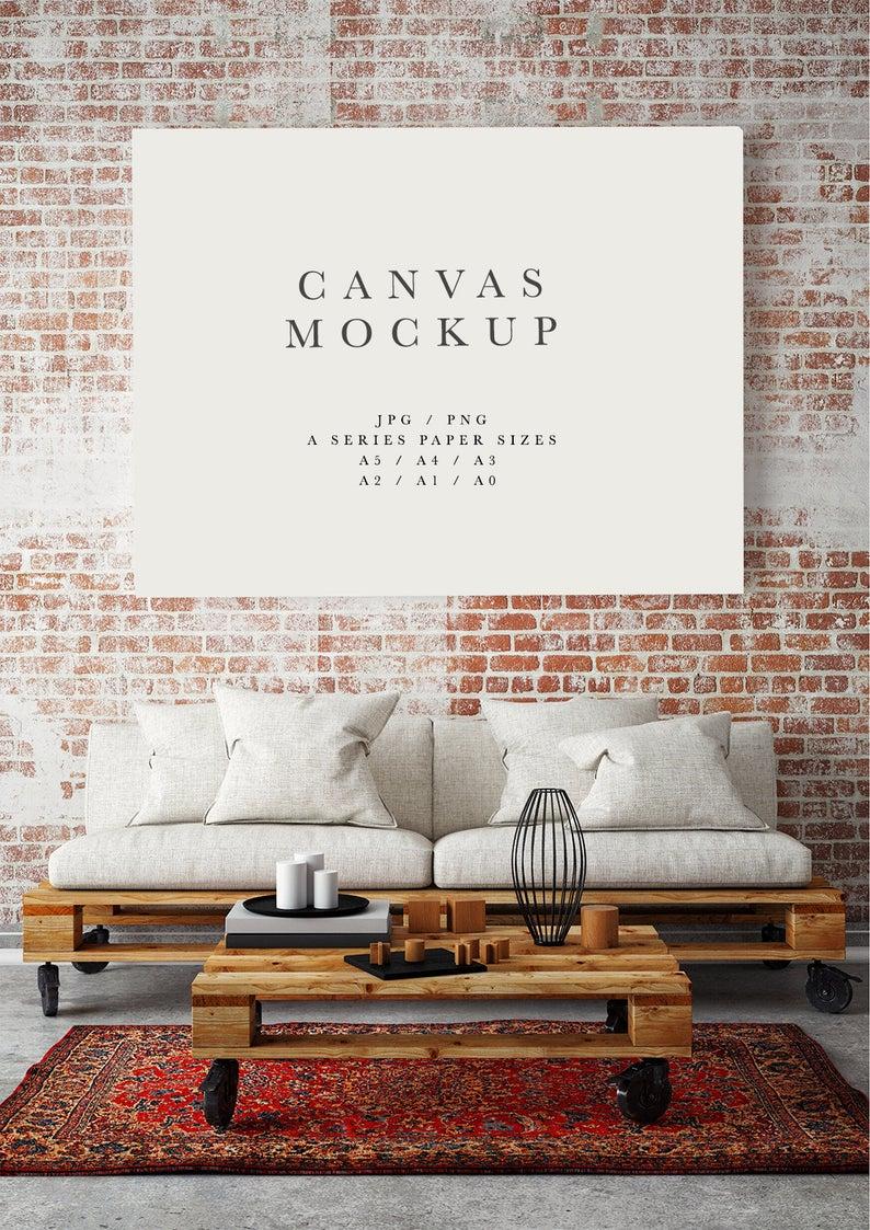 Frame Mockup 184 Landscape Canvas Frame And Living Room Ets