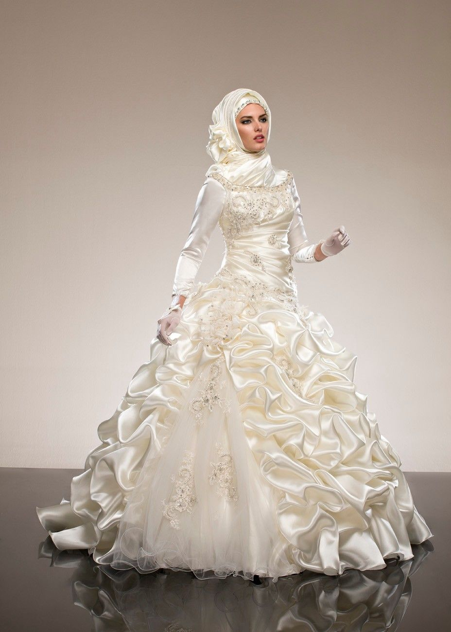 Find More Wedding Dresses Information About Luxurious Silk Taffeta With Scarf For Saudi Arabia Abaya Ball