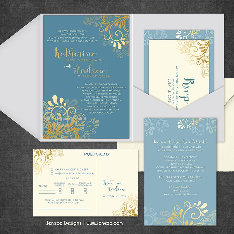 wedding invitations from michaels crafts%0A Custom pocket wedding invitations  Pretty blues and golds complete this  custom suite  Complete with