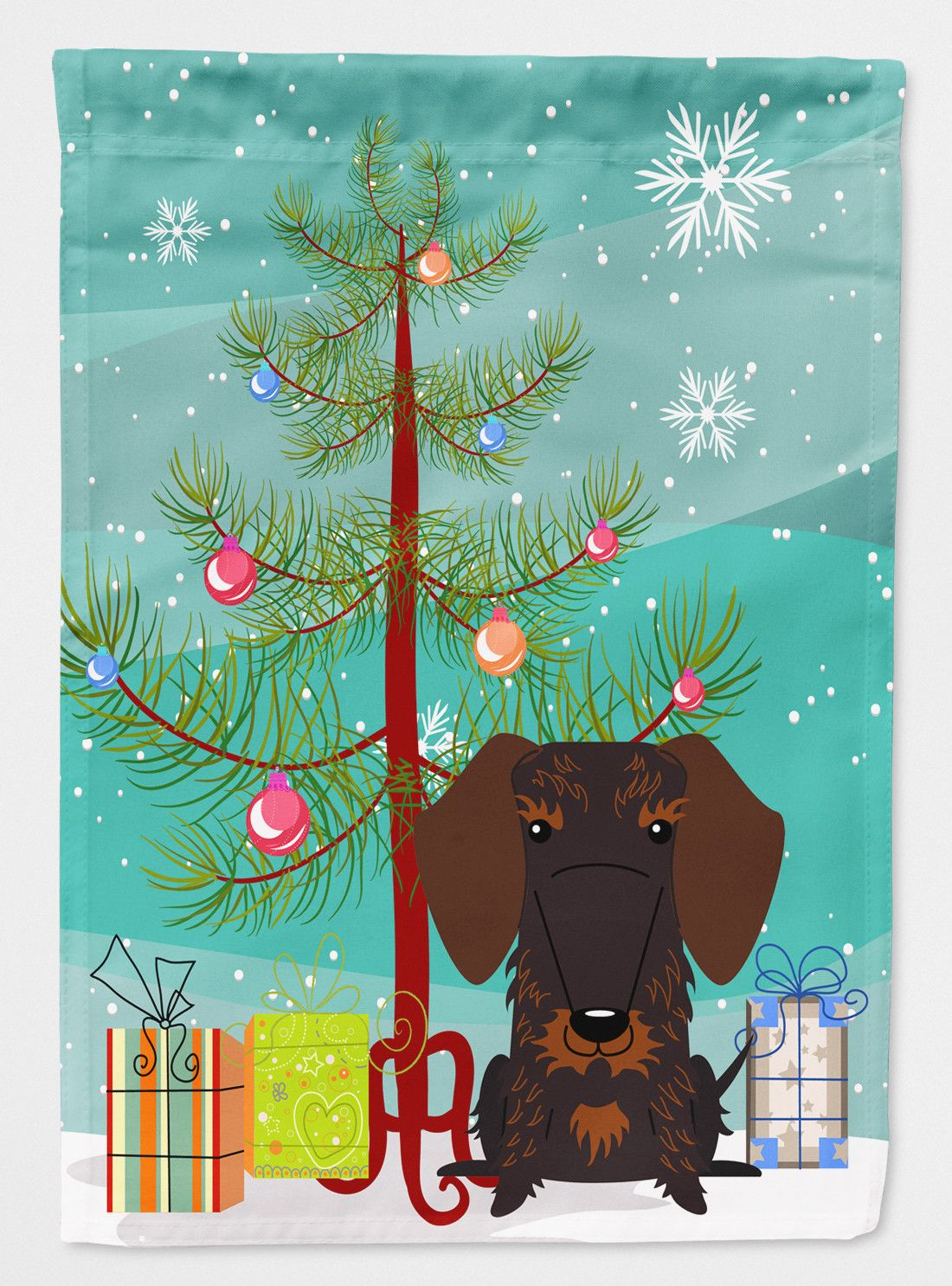 Merry Christmas Tree Wire Haired Dachshund 2 Sided Garden Flag