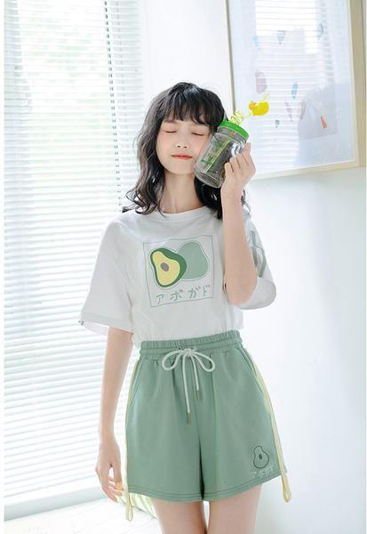 Cute Japanese Avocado Loose Shirt - Cute Japanese Avocado Loose Shirt and Shorts Set – online s