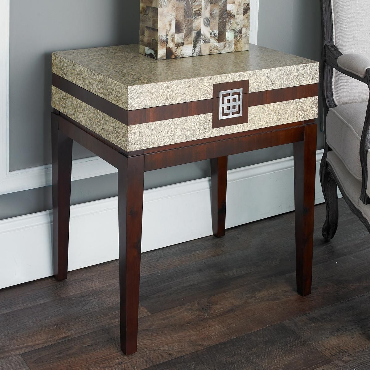 Faux Sharkskin Storage Box Side Table This