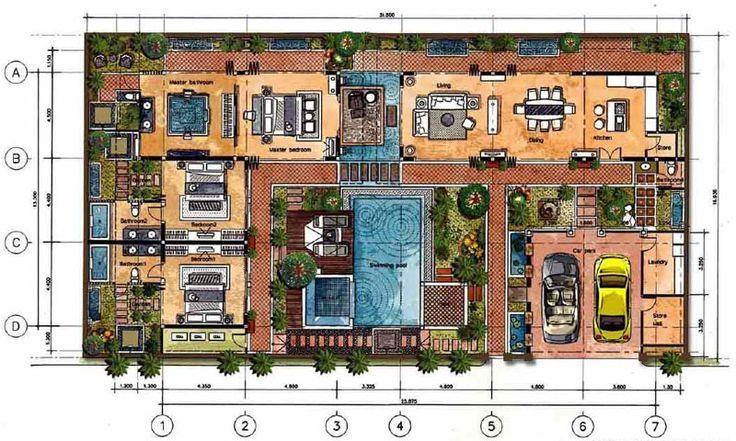 bali style villa house plans house design ideas