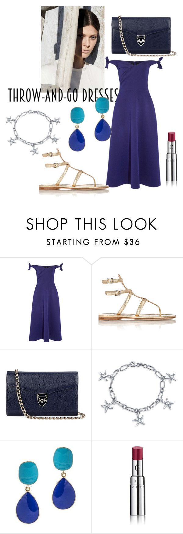 """""""Easy Peasy: Throw-and-Go Dresses"""" by arabellie ❤ liked on Polyvore featuring Saloni, Prada, Aspinal of London, Bling Jewelry, Kenneth Jay Lane, Chantecaille and easypeasy"""