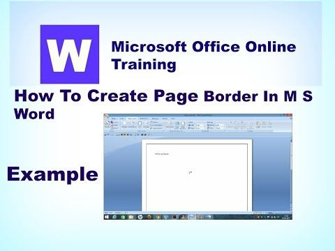 Learn Basics How To Create Page Border In M S Word ms word