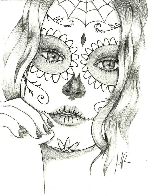 Coloring Pages Mexican Skulls Drawings Sugar Skull Drawings