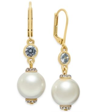 6061b458b kate spade new york Rose Gold-Tone Pink Imitation Pearl Drop Earrings - Gold