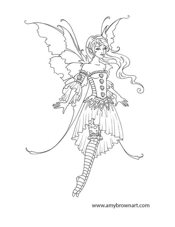 Lovely Fairy On Advanced And Difficult Coloring Pages For Grown Ups