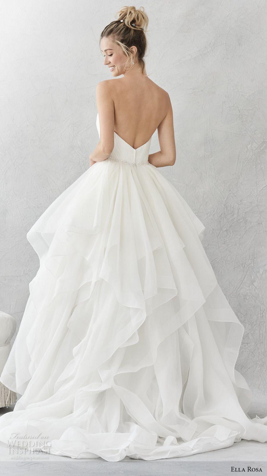 2eebb3dc86ea ella rosa spring 2017 bridal strapless sweetheart neckline wrap over bodice  simple layer skirt ball gown a line wedding dress open back chapel train ( 376) ...