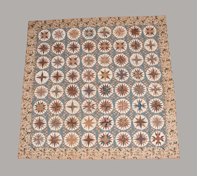 Elaborate Chintz and Cotton Appliqued Mariner's Compass Quilt, Maryland, c1830 -- Lot 1 -- May 4, 2013 Maryland Auction -- Crocker Farm, Inc.