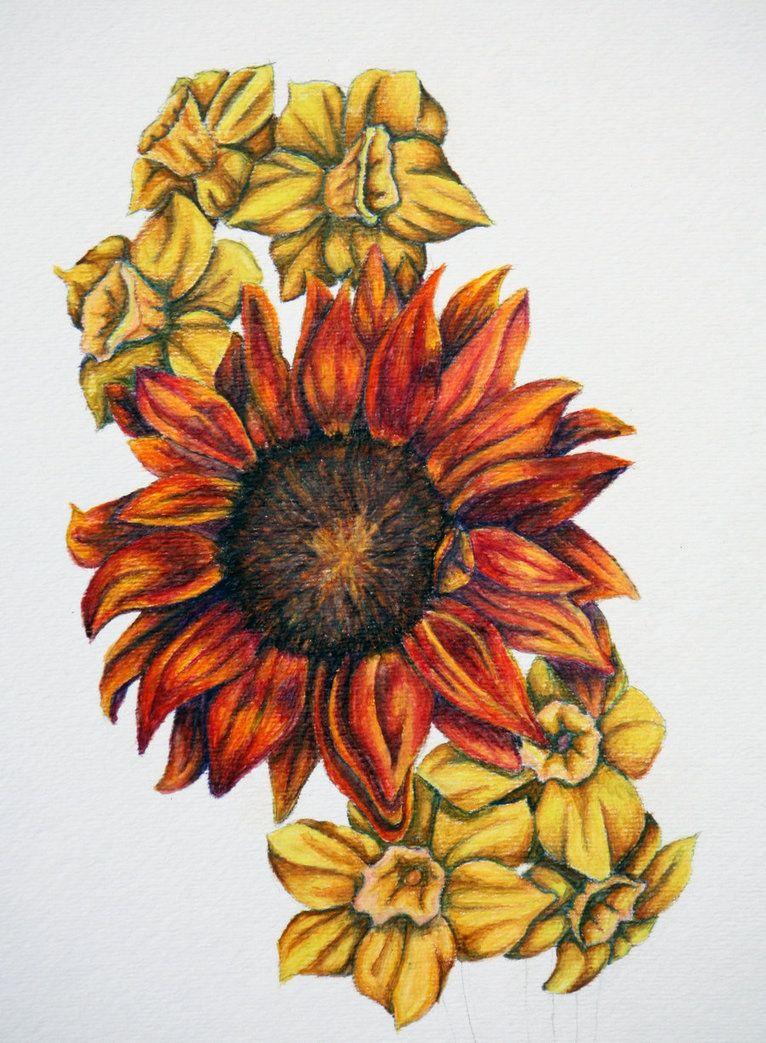 Sunflower and daffodils by tadaishar tattoos u piercings